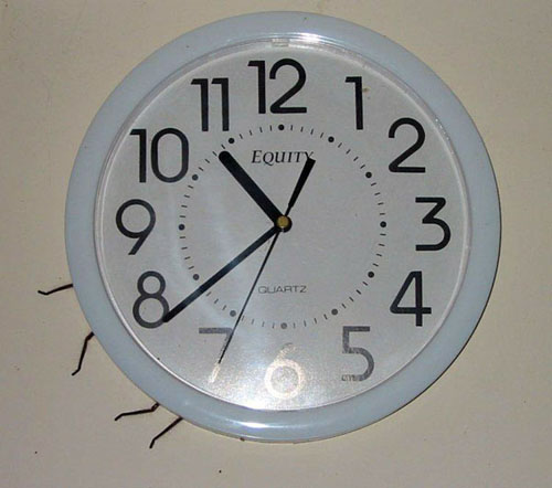 Huge Spider Behind a Clock